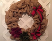 Rustic Burlap Wreath - Everyday Door Wreath - Everyday Wreath - Wedding Wreath - Front Door Wreath - Bridal Decor - Gift For Her