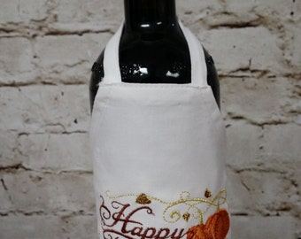 Wine Apron with Chef Hat - Happy Thanksgiving!! - Thanksgiving