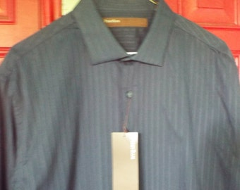 Designer Perry Ellis Long Sleeve Shirt, New w Tags, Vintage 90s, Cotton Size L, Slate Grey, Business Wear, Gifts for Him under 20