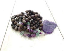 Amethyst Mala Beads, Amethyst Mala Necklace, Knotted Mala Beads, Gemstone Prayer Beads, Wood Beaded Mala, Yoga Necklace