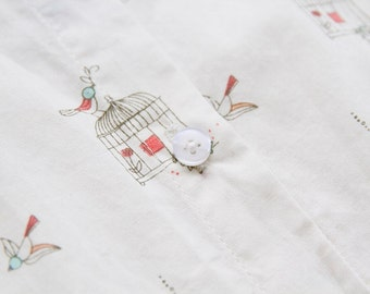 Once upon a time collection white bird cage print shirt