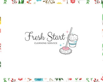 Cleaning Premade Logo Design - Web & Print Files - Limited Edition! Perfect For Cleaning Service, House Cleaning, Maid Service, Housekeeper