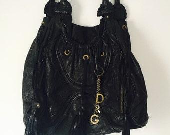 Vtg D & G Black Leather Slouchy Shoulder Bag