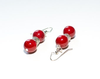 Coral stone earrings