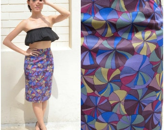 1960 Vintage Skirt/ Swirl Lolly Pencil Skirt/ XS Skirt/ Small Skirt/ Japanese Vintage/ Pencil Skirt/ Office Skirt/ Blue Skirt/ Midi Skirt