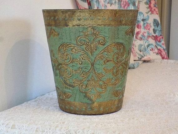 Vintage florentine waste basket antique shabby cottage chic - Shabby chic wastebasket ...