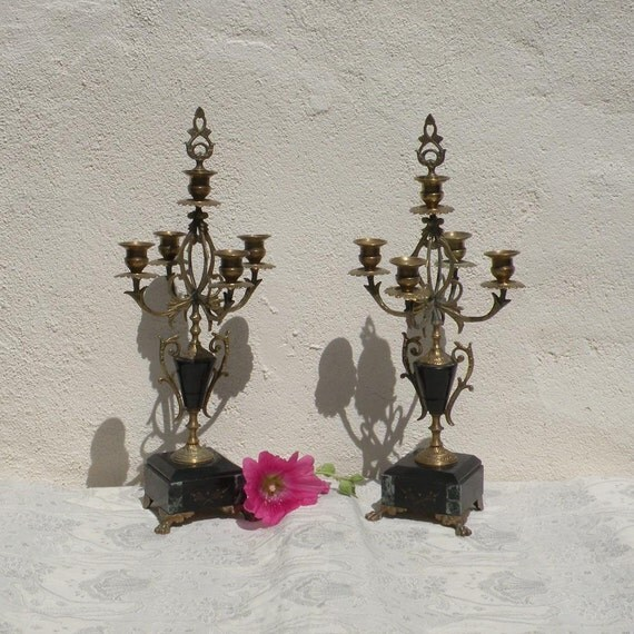 French antique art nouveau candelabras, vintage candelabras, chateau chic, shabby chic, romantic French, candle holders, Napoleonic