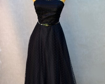 Black Party Dress with Polka Dot Lace Overlay