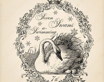 Instant Download Digital Printable Twelve 12 Days of Christmas Swans Swimming Holiday graphics Fabric Image Transfer clipart Sepia Clip Art