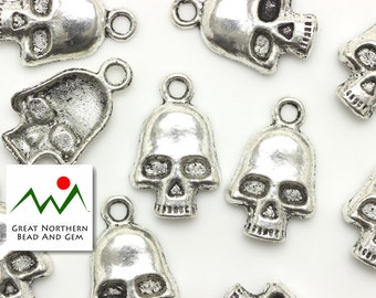 Pewter Charm,Pewter Findings,18MM Skull,15 Pieces #:FIN035778