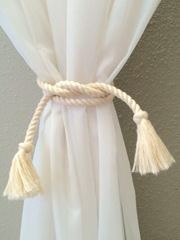 Nautical rope curtain tie back beach decor by highplainsknotwork