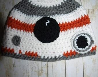 handmade baby BB 8 hat, newborn BB 8 hat, boys BB 8 hat, Star Wars the Force Awakens hats, Star Wars hats, baby Star Wars photo prop hats