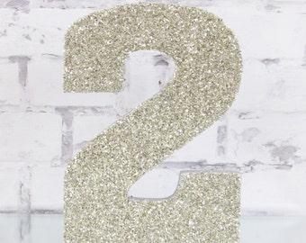Glitter Number Centerpiece - Silver Glass Glitter Letter - Birthday Photo Prop - Free Standing Wood Letter Centerpiece