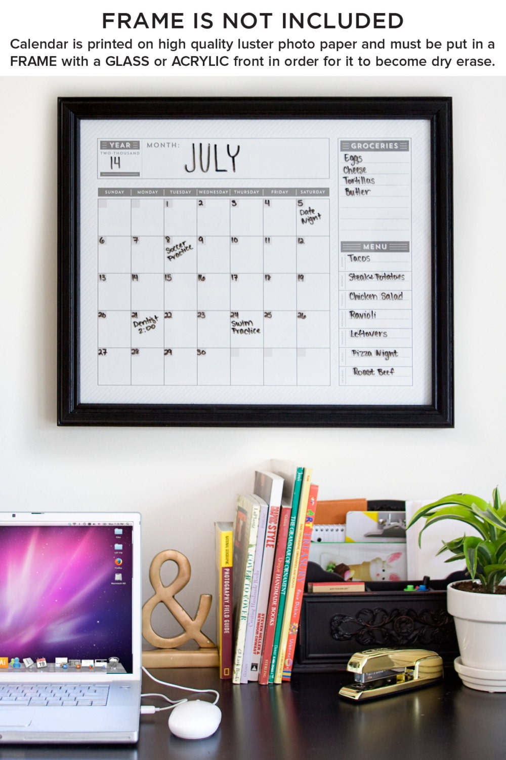 Horizontal Calendar Design : Calendar horizontal family planner wall by