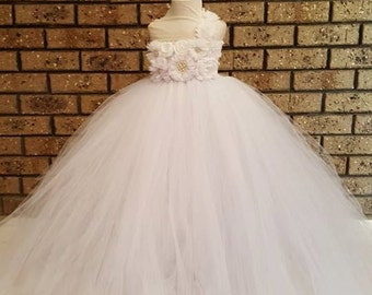 White Flower Rhinestone Tutu Flower Girl Dress - bridesmaids dress/ White Flower Girl/