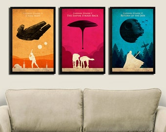 Vintage Star Wars Trilogy Posters - Set of 3 Posters