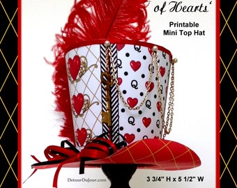 Queen of Hearts Mini Top Hat, Alice in Wonderland Queen of Hearts Mad Hatter Hat, Tea Party Printable