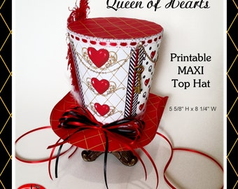 "Alice in Wonderland Queen of Hearts Mad Hatter Hat, LARGER Queen of Hearts ""Maxi"" Mini Top Hat, Tea Party Printable"