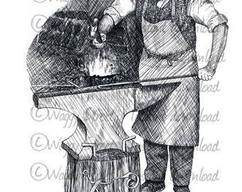 Vintage clipart Blacksmith farrier clipart. Pen and ink clipart illustration. Vintage retro digital image Commercial clip art drawing