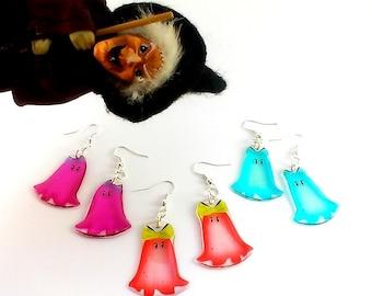Happy halloween earrings Halloween ghost earrings Halloween gift Kawaii ghost Exotic earrings Cute ghost Candy earrings Glossy earrings