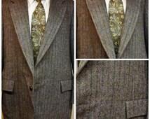 70s Mens English Gray Tweed Wool Sport Coat Size 44R  Slaithwaite