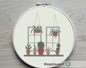 cross stitch pattern cactus, modern cross stitch, cactus, succulent, cacti, window, PDF pattern ** instant download**