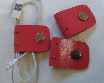 Set of 3 Handmade Eco Recycled Leather Cable Caddy