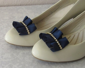 Navy Blue Shoe Clips, Pleated Satin with Gold Rhinestones, Handmade Wedding Shoe Jewelry, Something Blue, Bridesmaids, Classy, Elegant