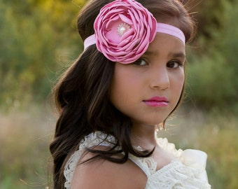 Pink Mauve Satin Singed Flower Headband ~ Baby Infant Toddler Girls Teen Adult Headband ~ Couture Headband