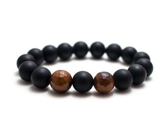 Onyx and Fire Agate Bracelet/ Matte Onyx Bracelet/ Large Onyx Bracelet/ Mens Onyx Bracelet/ 12mm Bead Bracelet