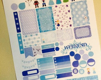 Ice Princess Weekly Planner Stickers Set, for use with Erin Condren Life Planner, Happy Planner