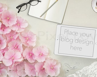 Styled Stock Photography mock-up, Styled desktop, Overlay text, tablet, iPad, Blog image, photography, digital, hydrangea, feminine SSP95