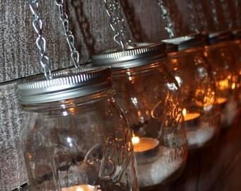 Hanging Ball Mason Jar Votive Tea Light Lantern- Luminary Home Decor- Set of 3