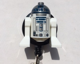 Disney© R2D2™ Star Wars©  ~ ID Holder Customized with Brick® Minifigure ~ Badge Reel ~ Slide Belt Clip ~ Alligator Clip~ Keychain Cufflinks