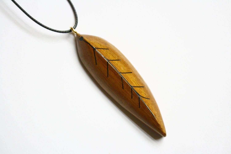 handmade leaf wooden leaf shaped pendant with resin fillings