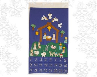 Nativity Advent Calendar + 24 christmas Ornaments Felt Advent Personalized  christmas countdown Religious Christmas