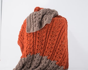 Knit Alpaca Blanket, Alpaca Couch Throw, Burnt Orange and Taupe, Cable Knit, Alpaca Silk - 111