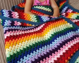 Rainbow baby blanket crochet granny stripe blanket, baby blanket, afghan. Size 40 x 50 inches
