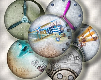 """Steampunk airplanes with old letters Digital bottle cap images - 1'' circles, 25mm, 30mm, 1.25"""", 1.5"""" for Jewelry Making, BUY 2 GET 1 FREE"""