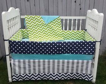 Custom Crib Bedding/Baby Bedding/Baby Crib bedding/Navy Bedding/Lime Bedding/Boy Baby Bedding/Crib Set/Baby Bedding/Chevron Bedding