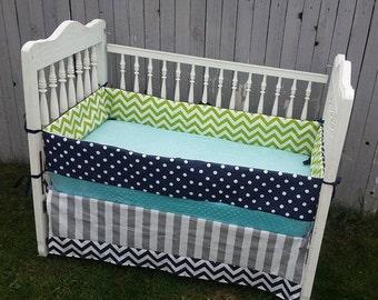green navy aqua crib bedding