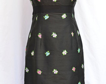 Lilly Pulitzer Dress, Black Silk Dress, with Embroidered Flowers & Empire Waist, Vintage Dress, Size 4, classic, Spring Dress, Easter Dress