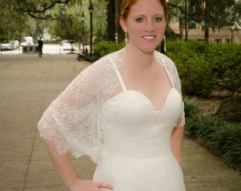 Lace Shrug, Bridal Shrug, Wedding Shrug, Bridal Lace Shrug, Wedding Cover-Up, Lace Wrap, Lace Cover Up, Lace Infinity Scarf- ZOE