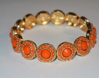 Orange and Gold Beaded Bracelet