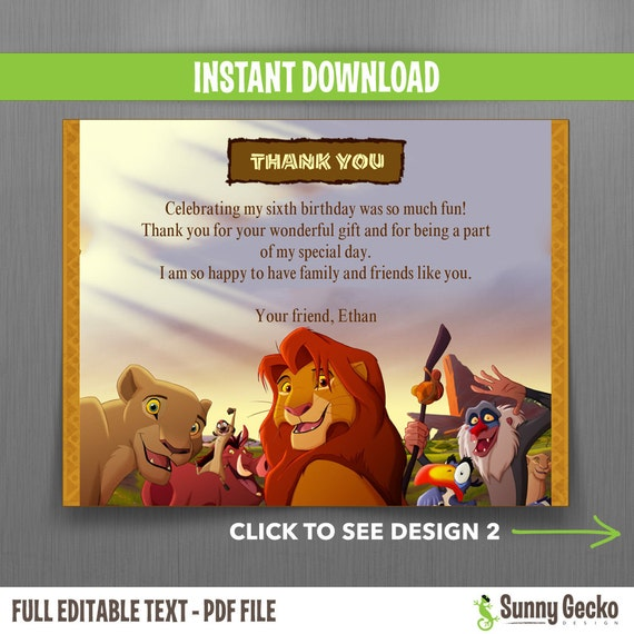 The lion king birthday thank you cards instant download and the lion king birthday thank you cards instant download and edit with adobe reader 2 designs for the same price bookmarktalkfo Images