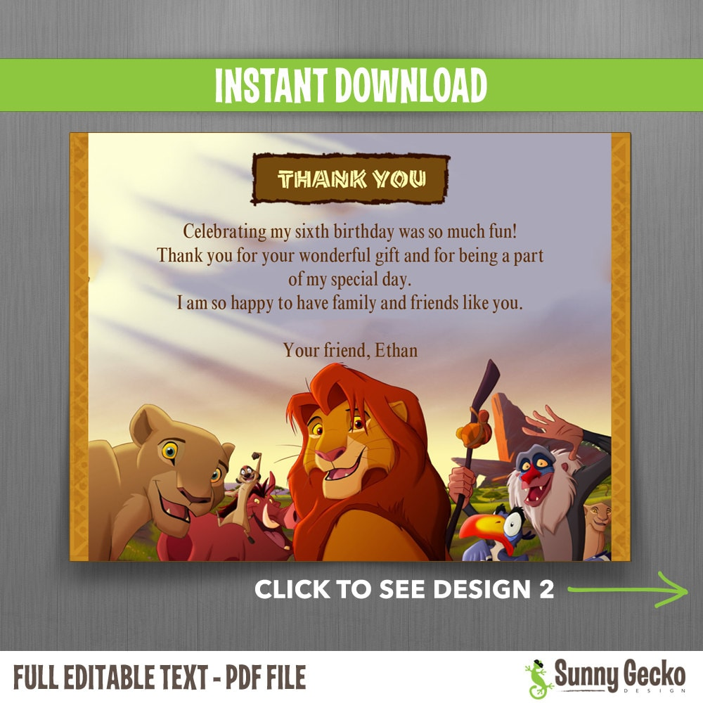 The Lion King Birthday Thank You Cards Instant Download And