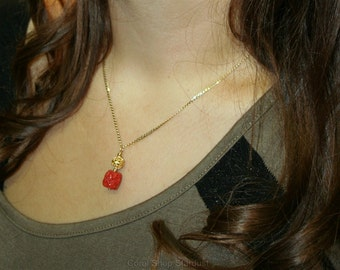 Natural red coral etsy natural red coral pendant necklace dubrovnik filigree pendant 14k gold pendant croatian filigree mozeypictures Images