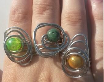 OOAK- Funky Wirewrap Adjustable Rings- Choose Your Style