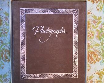Vintage Brown Velvet Photo Album. Metallic Gold Photograph Book. Large. Hallmark.