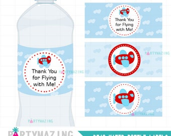 Plane Party Printable Water Bottle Wrappers, DIY Printable Labels, Red Plane DIY Printable Labels, Instant download -D542 HBTR1